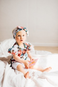 Roses set - shorts, t-shirt and headband